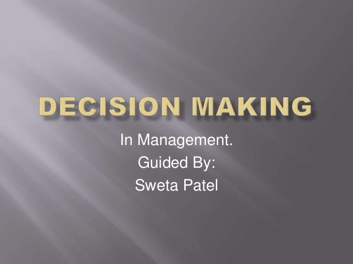 In Management.   Guided By:  Sweta Patel