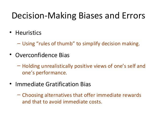 overconfidence bias anchoring biases confirmation bias availablity bias In reality, cognitive bias distorts our conscious thinking processes, making us   numerous studies and empirical observations confirm that humans regularly   availability bias – more credence was given to information that was available,  ignoring  of other biases were evident, including the framing effect, over- confidence,.