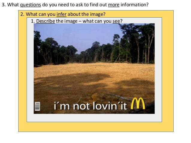 3. What questions do you need to ask to find out more information? 2. What can you infer about the image? 1. Describe the ...