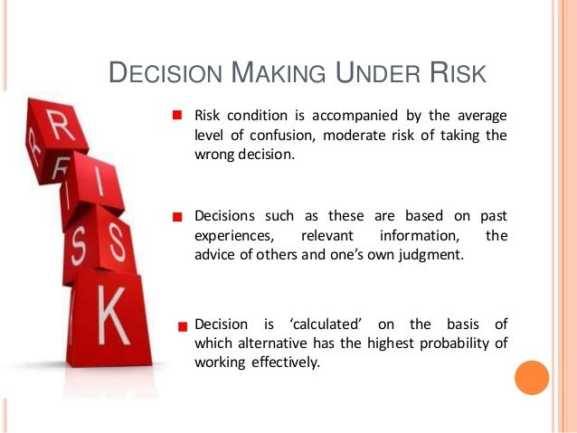 decision making under certainty uncert Hi everybody, i've got an essay on decision making under certainty,uncertainty and risk i ld appreciate if u guys could help me out plz i am a newbie and i see.