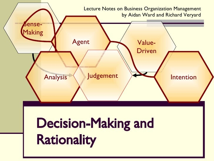Decision-Making and Rationality Sense-Making Value-Driven Agent Analysis Intention Judgement