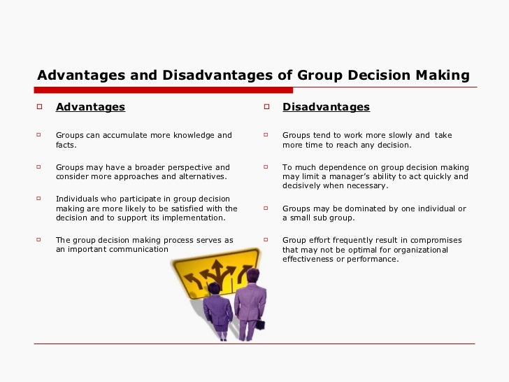 advantages of group decision making 2010年6月22日 63 group decision making advantages of group decision making committees,  task forces, and ad hoc groups are frequently assigned to.