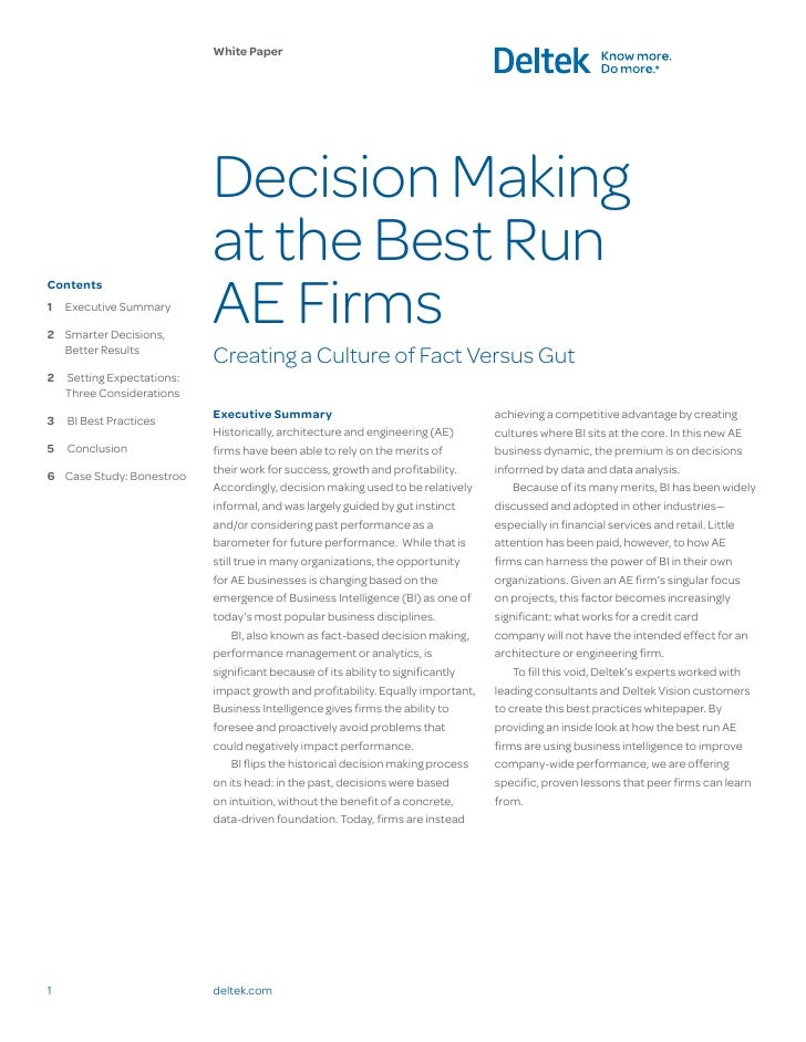 White Paper                            Decision Making                            at the Best Run                         ...