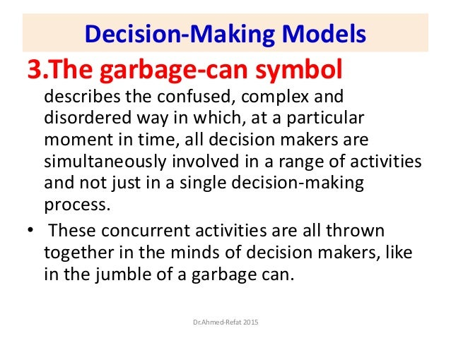 3.The garbage-can symbol describes the confused, complex and disordered way in which, at a particular moment in time, all ...