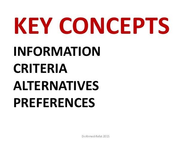 INFORMATION CRITERIA ALTERNATIVES PREFERENCES KEY CONCEPTS Dr.Ahmed-Refat 2015