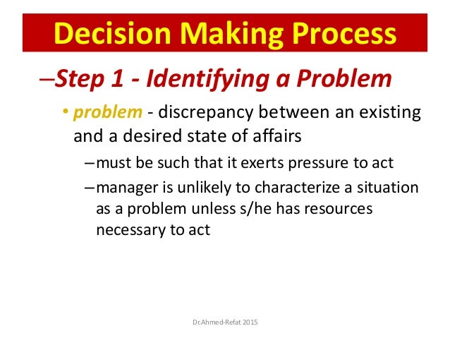 –Step 1 - Identifying a Problem • problem - discrepancy between an existing and a desired state of affairs –must be such t...