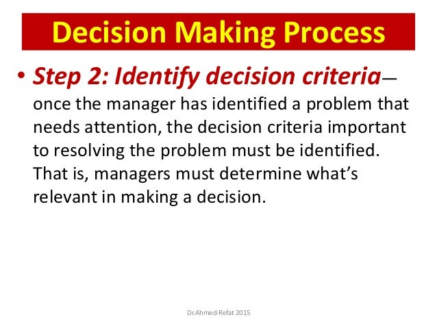 • Step 2: Identify decision criteria— once the manager has identified a problem that needs attention, the decision criteri...