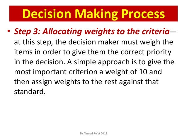 • Step 3: Allocating weights to the criteria— at this step, the decision maker must weigh the items in order to give them ...