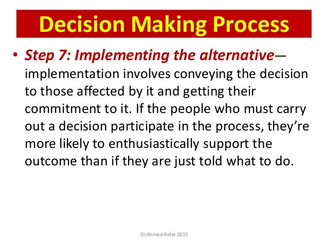 • Step 7: Implementing the alternative— implementation involves conveying the decision to those affected by it and getting...