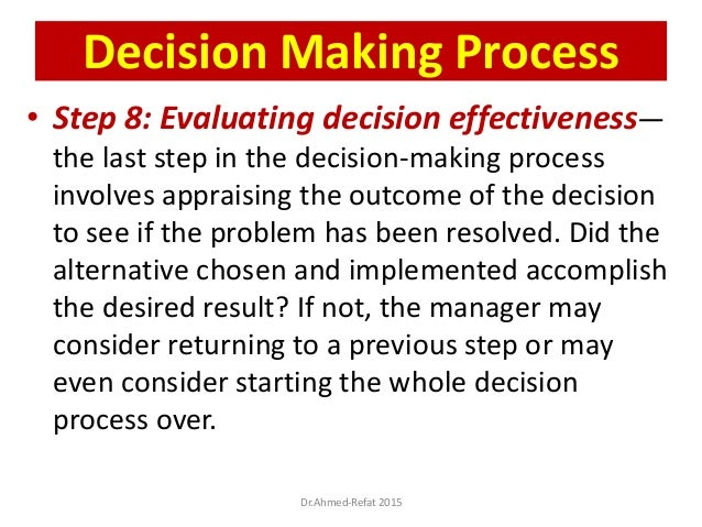 • Step 8: Evaluating decision effectiveness— the last step in the decision-making process involves appraising the outcome ...