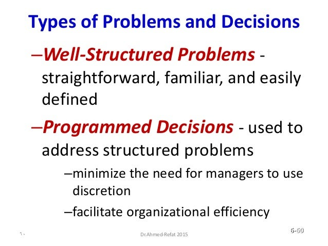 Types of Problems and Decisions –Well-Structured Problems - straightforward, familiar, and easily defined –Programmed Deci...