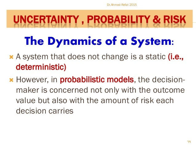 The Dynamics of a System:  A system that does not change is a static (i.e., deterministic)  However, in probabilistic mo...
