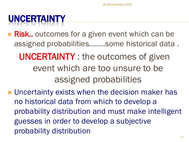 UNCERTAINTY  Risk.. outcomes for a given event which can be assigned probabilities..……some historical data . UNCERTAINTY ...