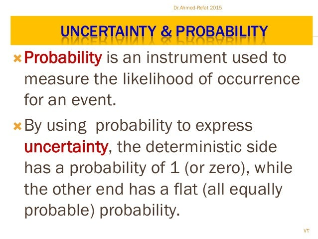 UNCERTAINTY & PROBABILITY Probability is an instrument used to measure the likelihood of occurrence for an event. By usi...