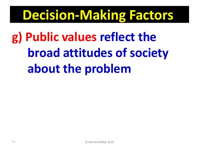 Decision-Making Factors g) Public values reflect the broad attitudes of society about the problem Dr.Ahmed-Refat 201594