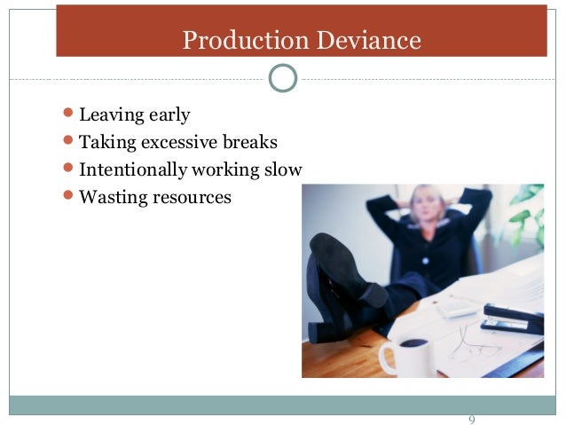 production deviance A hierarchical linear regression was also utilized to analyze the two types of justice, withdrawal, and production deviance a strong interaction was found.