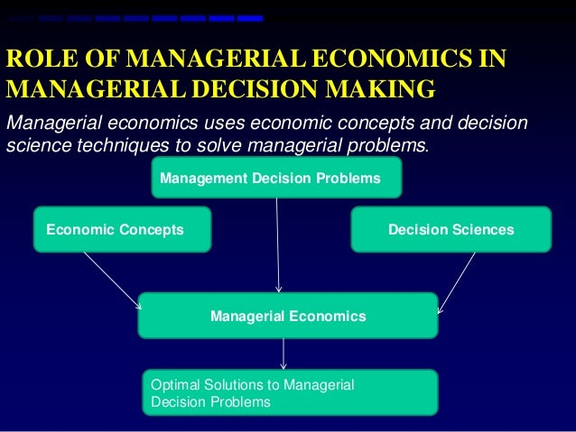 managerial economics is economics applied in decision making