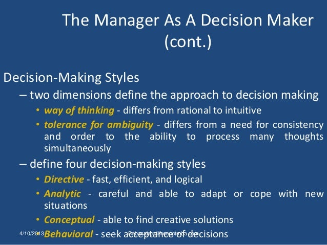an analysis of the four management styles directive analytical conceptual and behavioral The total score for column two one represents your score for the directive style, column two your analytical style, column three your conceptual style, and column four your behavioral style questions for discussion.