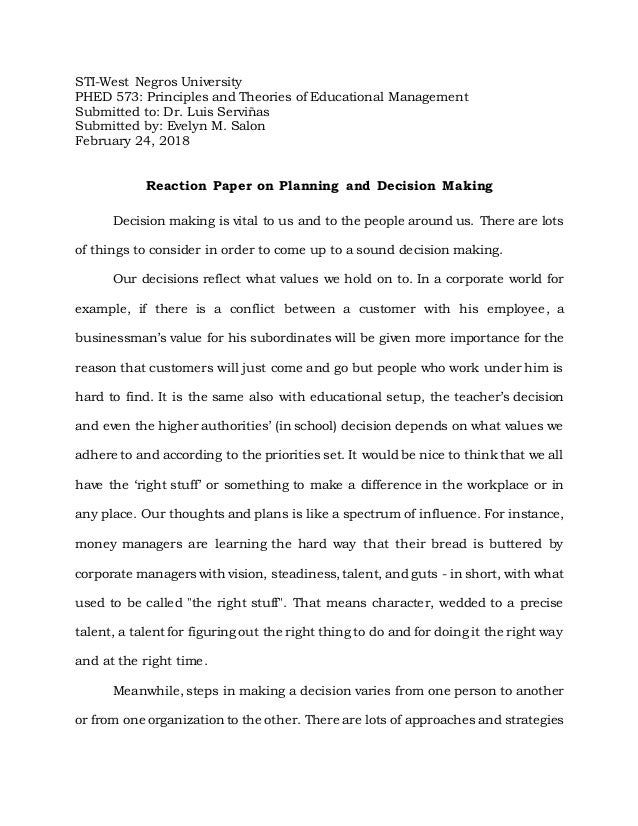 Decision making:personal case study reflection essay.
