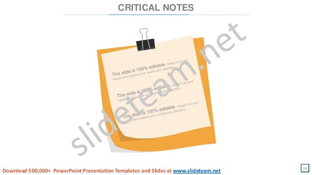 28 CRITICAL NOTES Download 500,000+ PowerPoint Presentation Templates and Slides at www.slideteam.net