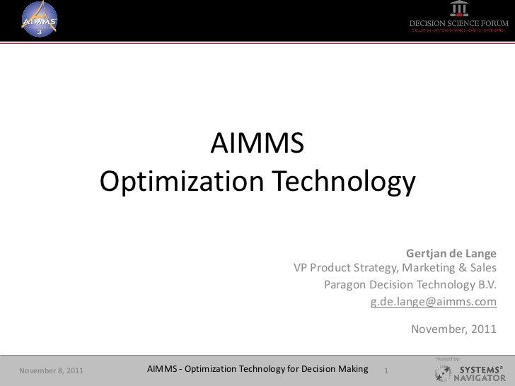 AIMMS                   Optimization Technology                                                                           ...