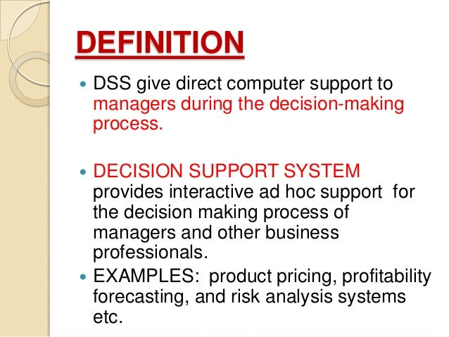 essay on decision support system Read decision support system application free essay and over 88,000 other research documents decision support system application i think that the success of a business depends upon the quality of the decisions it makes at each customer.