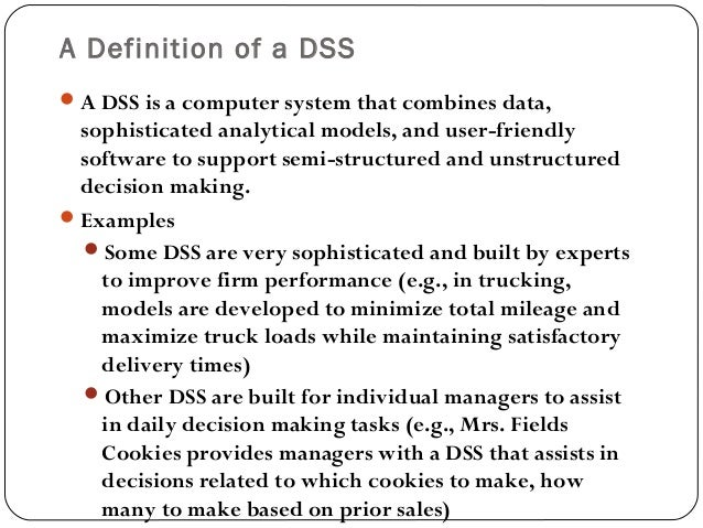 Decision support systems 1