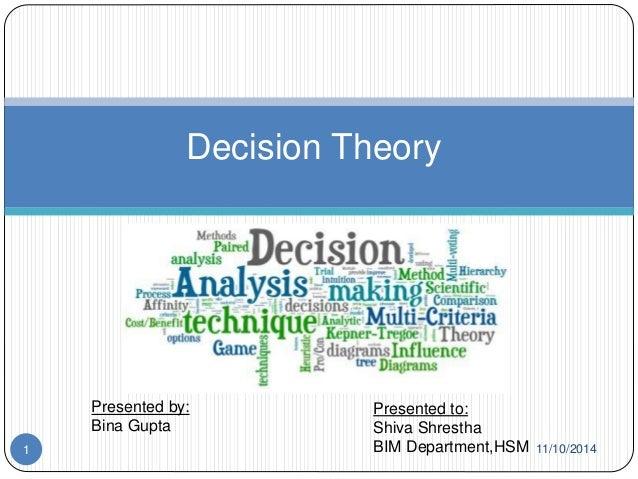 Decision Theory  Presented by:  Bina Gupta  Presented to:  Shiva Shrestha  1 BIM Department,HSM 11/10/2014