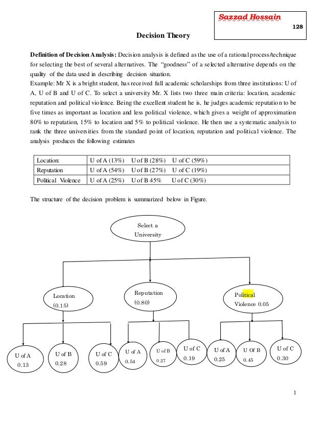 1 Decision Theory Definition of Decision Analysis: Decision analysis is defined as the use of a rational process/technique...