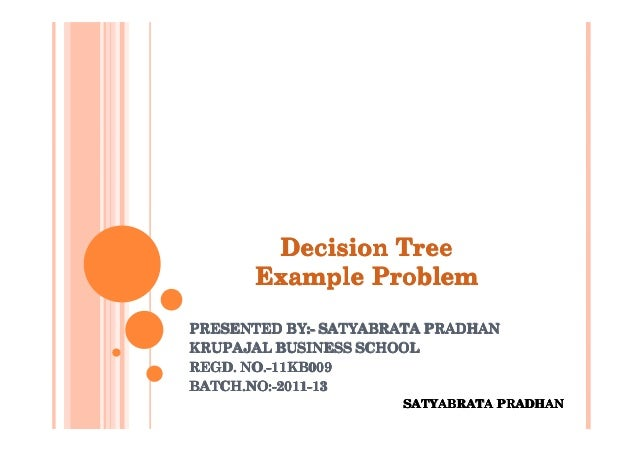 Decision Tree       Example ProblemPRESENTED BY:- SATYABRATA PRADHAN            BY:-KRUPAJAL BUSINESS SCHOOLREGD. NO.-11KB...