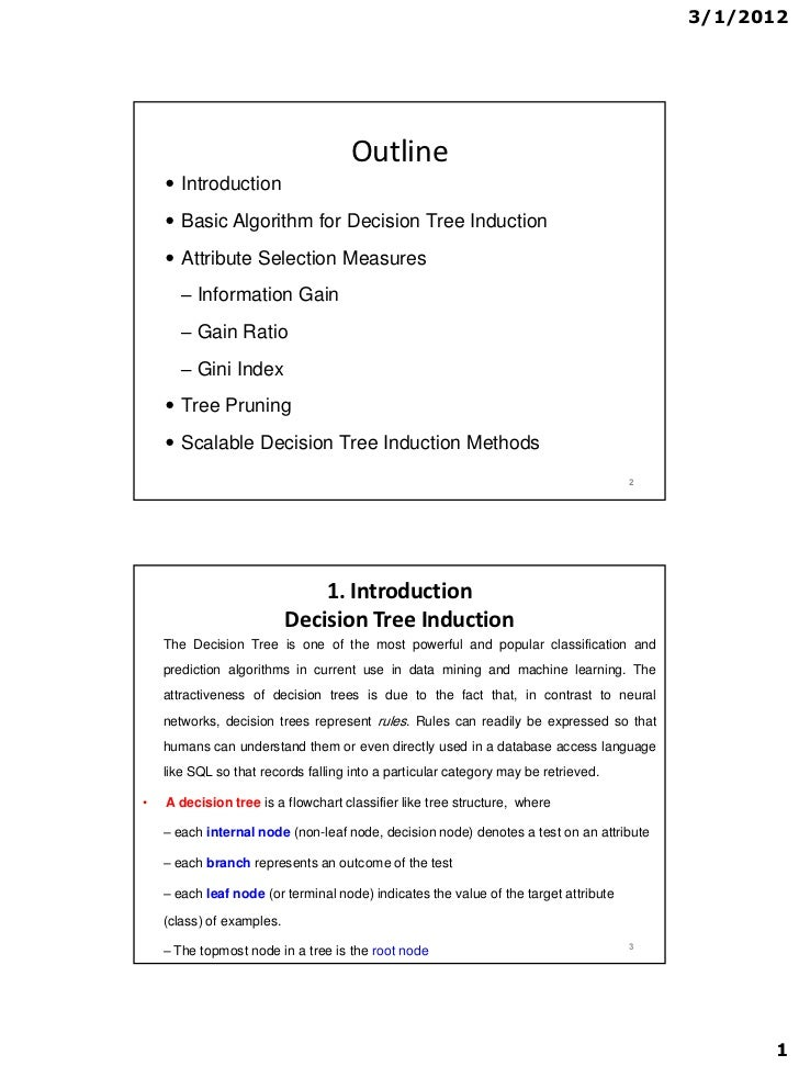 3/1/2012                                     Outline     Introduction     Basic Algorithm for Decision Tree Induction   ...