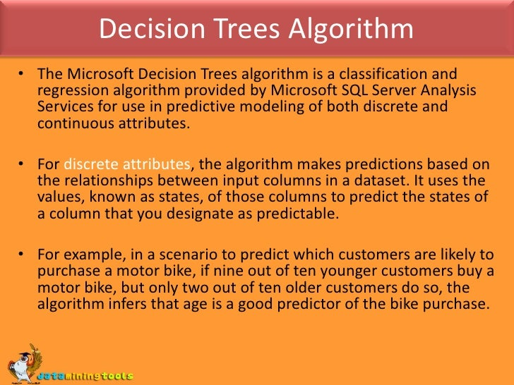 an explanation of the decision tree a standard tool in data mining A decision tree is grown by first splitting all data points into two groups, with similar data points grouped together, and then repeating the binary splitting process within each group as a result, each subsequent leaf node will have fewer but more homogeneous data points.