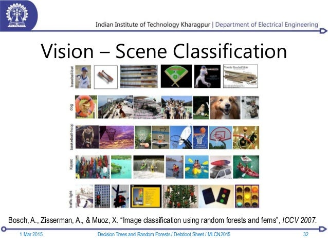 """Vision – Scene Classification Bosch, A., Zisserman, A., & Muoz, X. """"Image classification using random forests and ferns"""", ..."""