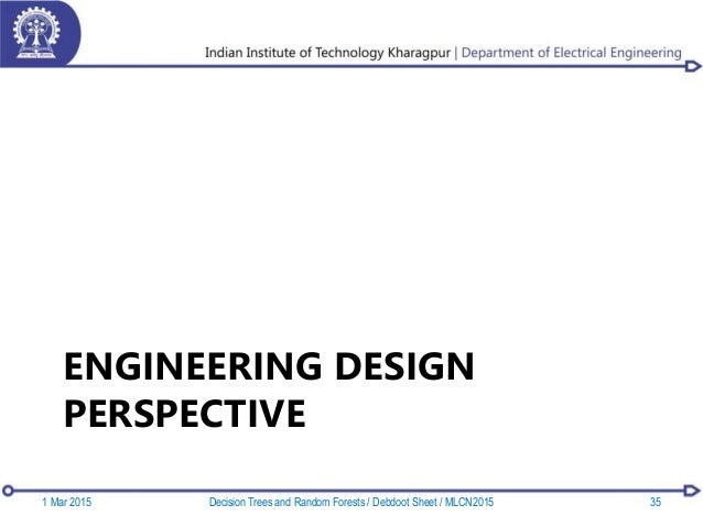 ENGINEERING DESIGN PERSPECTIVE 1 Mar 2015 35Decision Trees and Random Forests / Debdoot Sheet / MLCN2015