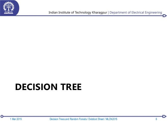 DECISION TREE 1 Mar 2015 6Decision Trees and Random Forests / Debdoot Sheet / MLCN2015