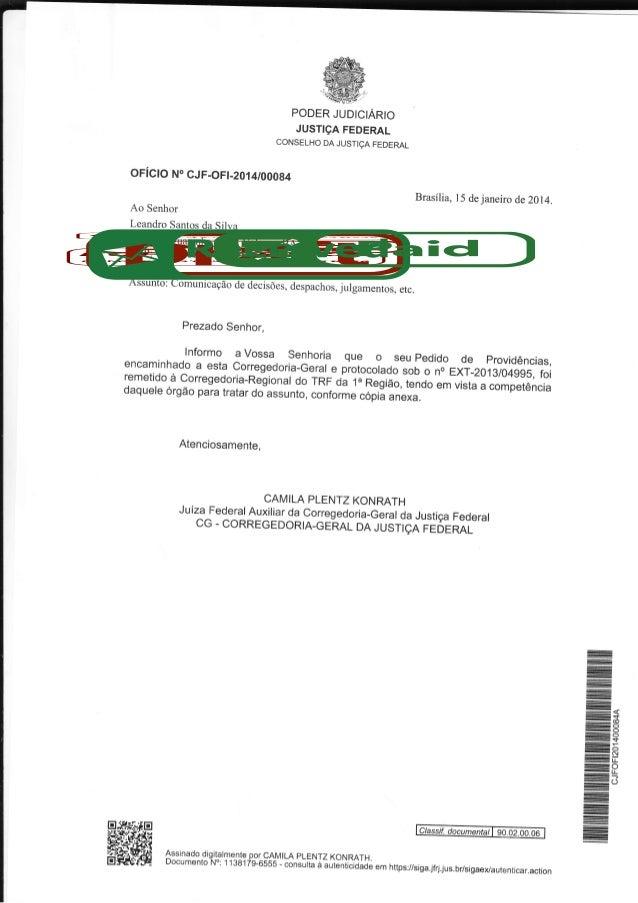 W M  't-  -  PODER JUDICIARIO  .o*J_ï;J,ff[ï?,:Hh*^,. oFícto  No GJF-O Ft-2014rcA0g4  Brasília, l5  Ao Senhor  de  janeiro...