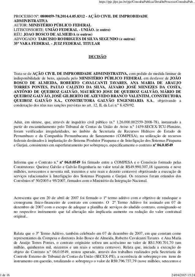 PROCESSO Nº: 0800059-78.2014.4.05.8312 - AÇÃO CIVIL DE IMPROBIDADE ADMINISTRATIVA AUTOR: MINISTÉRIO PÚBLICO FEDERAL LITISC...