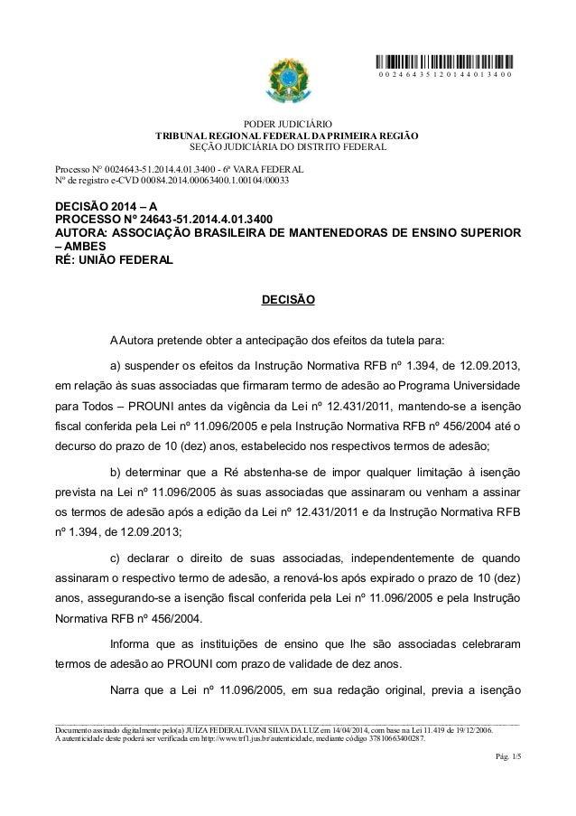 0 0 2 4 6 4 3 5 1 2 0 1 4 4 0 1 3 4 0 0 PODER JUDICIÁRIO TRIBUNAL REGIONAL FEDERAL DA PRIMEIRA REGIÃO SEÇÃO JUDICIÁRIA DO ...