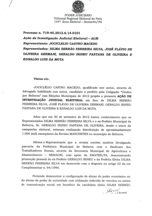 Decisão da juíza sobre o processo  719 45.2012.6.14.0101