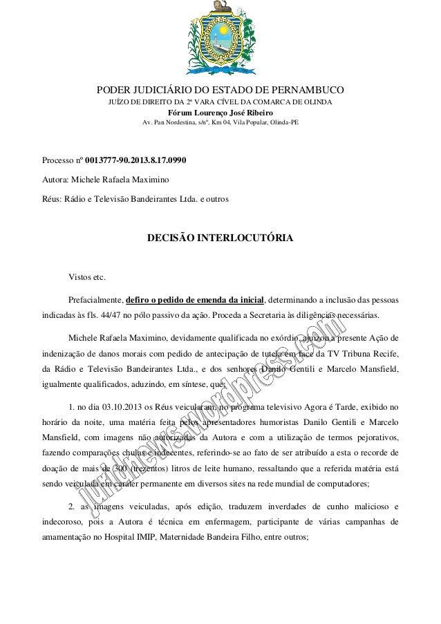PODER JUDICIÁRIO DO ESTADO DE PERNAMBUCO JUÍZO DE DIREITO DA 2ª VARA CÍVEL DA COMARCA DE OLINDA  Fórum Lourenço José Ribei...