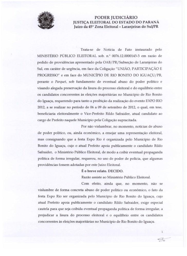 PODER JUDICIARIO                           JUSTI<;A ELEITORAL DO ESTADO DO PARANA                            Juizo da 4Sa ...