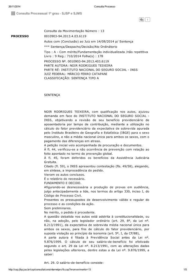 26/11/2014  Consulta Processo  : :g Comsulla Processual 1:' qrau r SJSP e SJMS  PROCESSO  Consulta da Movimentação Número ...