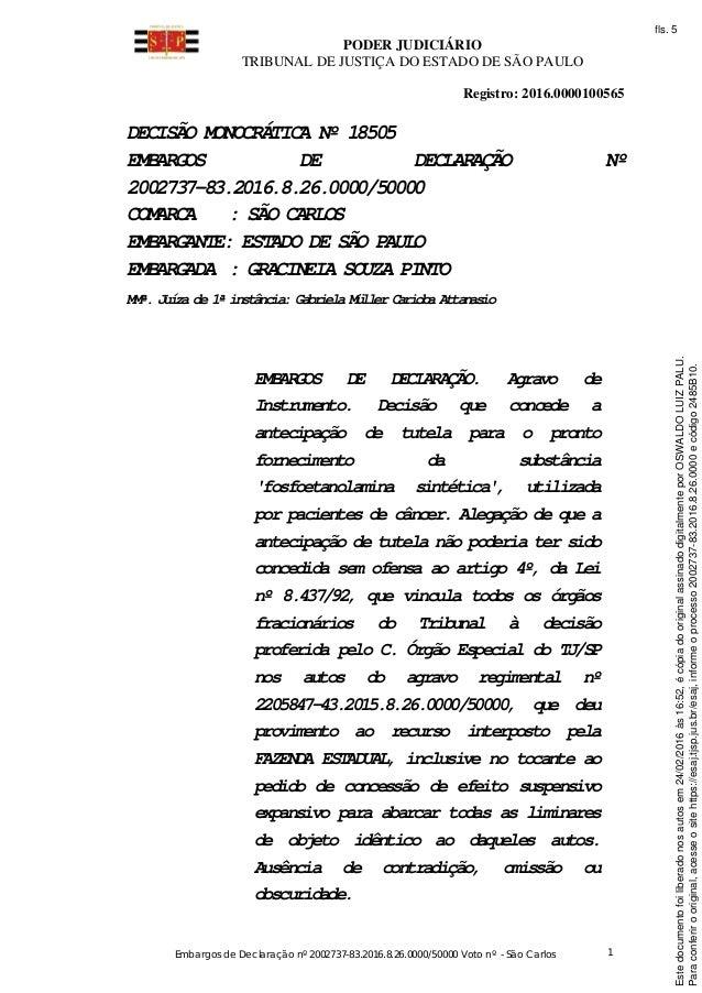 PODER JUDICIÁRIO TRIBUNAL DE JUSTIÇA DO ESTADO DE SÃO PAULO Embargos de Declaração nº 2002737-83.2016.8.26.0000/50000 Voto...