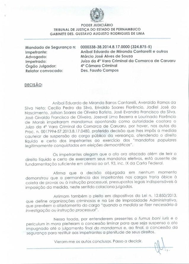 PODER JUDICIÁRIO TRIBUNAL DE JUSTIÇA DO ESTADO DE PERNAMBUCO GABINETE DÊS. GUSTAVO AUGUSTO RODRIGUES DE LIMA  Mandado de S...