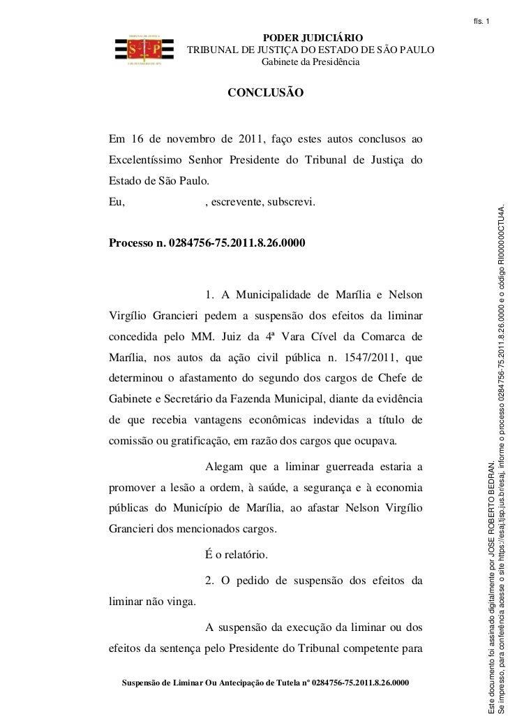 fls. 1                               PODER JUDICIÁRIO                  TRIBUNAL DE JUSTIÇA DO ESTADO DE SÃO PAULO         ...
