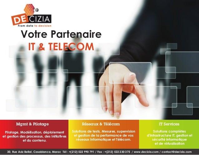 Votre Partenaire IT & TELECOM  Mgmt & Pilotage Pilotage, Modélisation, déploiement et gestion des processus, des initiativ...