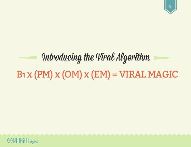 9 Introducing the Viral Algorithm B1x(PM)x(OM)x (EM)=VIRALMAGIC