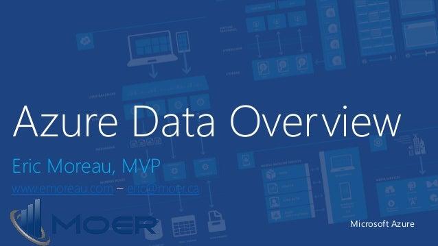 Azure Data Overview Eric Moreau, MVP www.emoreau.com – eric@moer.ca Microsoft Azure