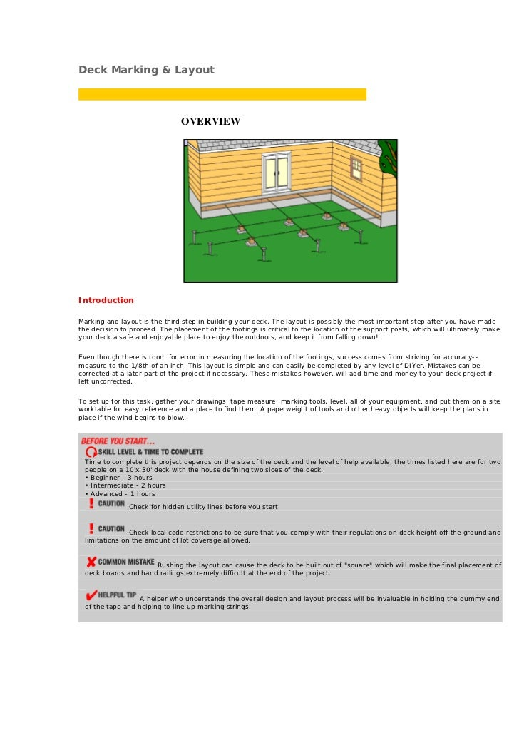 Deck Marking & Layout                               OVERVIEWIntroductionMarking and layout is the third step in building y...