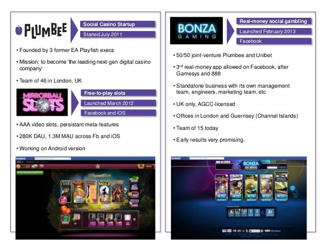 • AAA video slots, persistant meta-features• 280K DAU, 1.3M MAU across Fb and iOS• Working on Android version• 50/50 joint...